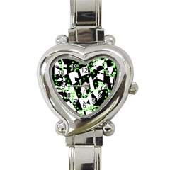 Black, White And Green Chaos Heart Italian Charm Watch by Valentinaart