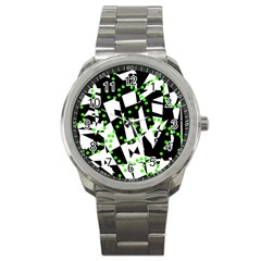 Black, White And Green Chaos Sport Metal Watch by Valentinaart