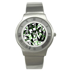 Black, White And Green Chaos Stainless Steel Watch by Valentinaart