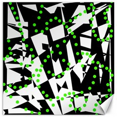Black, White And Green Chaos Canvas 20  X 20   by Valentinaart
