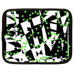 Black, White And Green Chaos Netbook Case (xl)  by Valentinaart