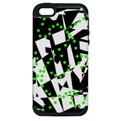 Black, White And Green Chaos Apple Iphone 5 Hardshell Case (pc+silicone) by Valentinaart