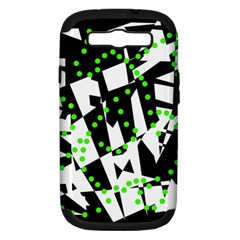 Black, White And Green Chaos Samsung Galaxy S Iii Hardshell Case (pc+silicone) by Valentinaart