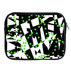 Black, White And Green Chaos Apple Ipad 2/3/4 Zipper Cases by Valentinaart