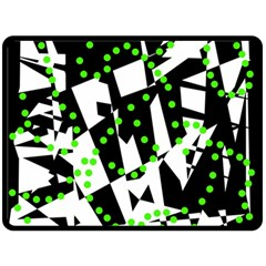 Black, White And Green Chaos Double Sided Fleece Blanket (large)  by Valentinaart