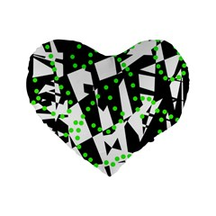 Black, White And Green Chaos Standard 16  Premium Flano Heart Shape Cushions by Valentinaart