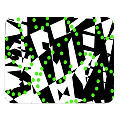 Black, White And Green Chaos Double Sided Flano Blanket (large)  by Valentinaart