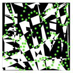 Black, White And Green Chaos Large Satin Scarf (square) by Valentinaart