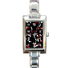 Black, Red And White Chaos Rectangle Italian Charm Watch by Valentinaart