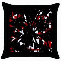 Black, Red And White Chaos Throw Pillow Case (black) by Valentinaart