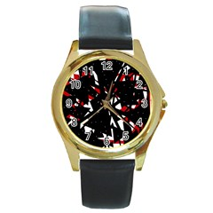 Black, Red And White Chaos Round Gold Metal Watch by Valentinaart