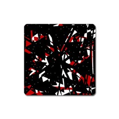 Black, Red And White Chaos Square Magnet by Valentinaart