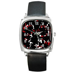 Black, Red And White Chaos Square Metal Watch by Valentinaart