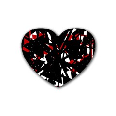 Black, Red And White Chaos Rubber Coaster (heart)  by Valentinaart