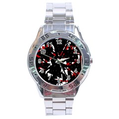 Black, Red And White Chaos Stainless Steel Analogue Watch by Valentinaart