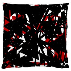 Black, Red And White Chaos Large Flano Cushion Case (one Side) by Valentinaart