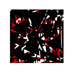 Black, Red And White Chaos Small Satin Scarf (square) by Valentinaart