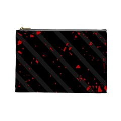 Black And Red Cosmetic Bag (large)  by Valentinaart