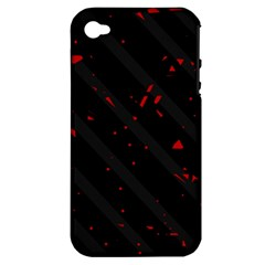 Black And Red Apple Iphone 4/4s Hardshell Case (pc+silicone) by Valentinaart