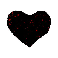Black And Red Standard 16  Premium Flano Heart Shape Cushions by Valentinaart