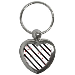 Elegant Black, Red And White Lines Key Chains (heart)  by Valentinaart