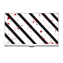 Elegant Black, Red And White Lines Business Card Holders by Valentinaart
