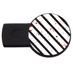 Elegant Black, Red And White Lines Usb Flash Drive Round (2 Gb)  by Valentinaart
