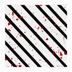 Elegant Black, Red And White Lines Medium Glasses Cloth (2 Side) by Valentinaart