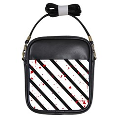 Elegant Black, Red And White Lines Girls Sling Bags by Valentinaart