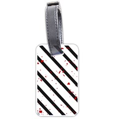 Elegant Black, Red And White Lines Luggage Tags (one Side)  by Valentinaart