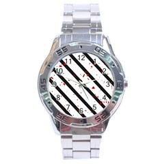 Elegant Black, Red And White Lines Stainless Steel Analogue Watch by Valentinaart