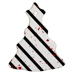 Elegant Black, Red And White Lines Christmas Tree Ornament (2 Sides) by Valentinaart