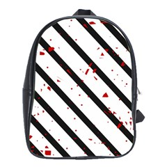 Elegant Black, Red And White Lines School Bags (xl)  by Valentinaart