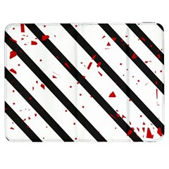 Elegant Black, Red And White Lines Samsung Galaxy Tab 7  P1000 Flip Case by Valentinaart