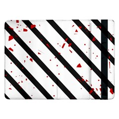 Elegant Black, Red And White Lines Samsung Galaxy Tab Pro 12 2  Flip Case by Valentinaart