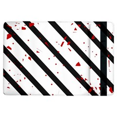 Elegant Black, Red And White Lines Ipad Air Flip by Valentinaart