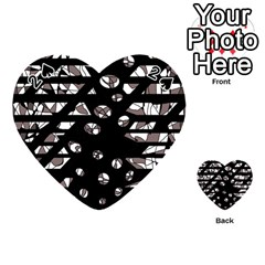 Gray Abstract Design Playing Cards 54 (heart)