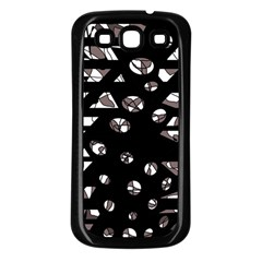 Gray Abstract Design Samsung Galaxy S3 Back Case (black) by Valentinaart
