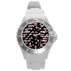 Red Freedam Round Plastic Sport Watch (l) by Valentinaart