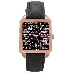 Red Freedam Rose Gold Leather Watch  by Valentinaart