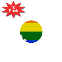 Lgbt Flag Map Of Illinois 1  Mini Buttons (10 Pack)  by abbeyz71