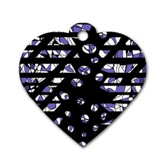 Purple Freedom Dog Tag Heart (one Side) by Valentinaart