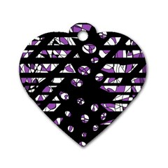 Violet Freedom Dog Tag Heart (two Sides) by Valentinaart