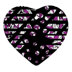 Magenta Freedom Heart Ornament (2 Sides) by Valentinaart