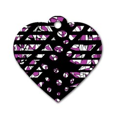 Magenta Freedom Dog Tag Heart (two Sides) by Valentinaart