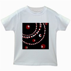 Red Pearls Kids White T Shirts by Valentinaart