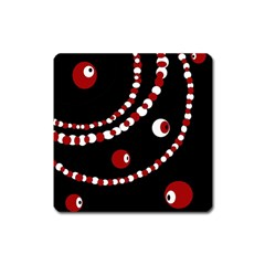 Red Pearls Square Magnet by Valentinaart
