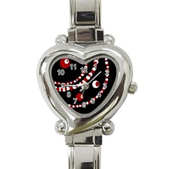 Red Pearls Heart Italian Charm Watch by Valentinaart