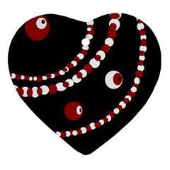 Red Pearls Heart Ornament (2 Sides) by Valentinaart
