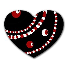 Red Pearls Heart Mousepads